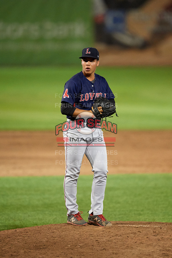 Lowell Spinners relief pitcher Oddanier Mosqueda (58) gets ready to deliver a pitch during a game against the Auburn Doubledays on July 13, 2018 at Falcon Park in Auburn, New York.  Lowell defeated Auburn 8-5.  (Mike Janes/Four Seam Images)
