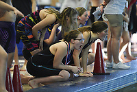 Image from the 6A-West Conference swim meet at the Jones Center in Springdale, Thursday, February 13, 2020 . Check out nwaonline.com/200214Daily/ for today's photo gallery.<br /> (NWA Democrat-Gazette/Charlie Kaijo)