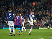 2nd December 2017, The Hawthorns, West Bromwich, England; EPL Premier League football, West Bromwich Albion versus Crystal Palace; Jake Livermore of West Bromwich Albion catching the ball on a volley in front of Christian Benteke of Crystal Palace