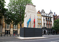 The Cenotaph in Whitehall is boarded up after being the target of graffiti by protesters recently<br /> Several of London's historic statues have been boarded up to protect them from being defaced or damaged during this weekend's expected protests in the capital. London, UK June 12th 2020<br /> <br /> Photo by Keith Mayhew