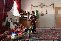 Adham Takatka, 6, is seen in his home in the village of Marak Mu' Ala in the Bethlehem district, West Bank. Adham had a transplant of bone marrow received from his young brother Mohammed in the Hadassah Hospital.  Photo by Quique Kierszenbaum