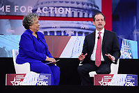 National Harbor, MD - February 22, 2018: U.S. Labor Secretary Alex Acosta participates in a discussion, moderated by Kay Coles James of the Heritage Foundation, during the Conservative Political Action Conference (CPAC) at the Gaylord National Hotel in National Harbor, MD, February 22, 2018  (Photo by Don Baxter/Media Images International)