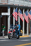 Couple on motorcycle in Jacksonville, Oregon for Memorial Day