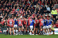 Tempers flare between players from both sides. Gallagher Premiership match, between Gloucester Rugby and Bath Rugby on April 13, 2019 at Kingsholm Stadium in Gloucester, England. Photo by: Patrick Khachfe / Onside Images