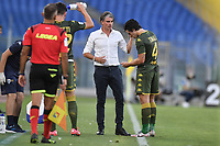 Diego Lopez, Brescia coach, and Sandro Tonali<br /> during the Serie A football match between SS Lazio  and Brescia Calcio at stadio Olimpico in Roma (Italy), July 29th, 2020. Play resumes behind closed doors following the outbreak of the coronavirus disease. <br /> Photo Antonietta Baldassarre / Insidefoto
