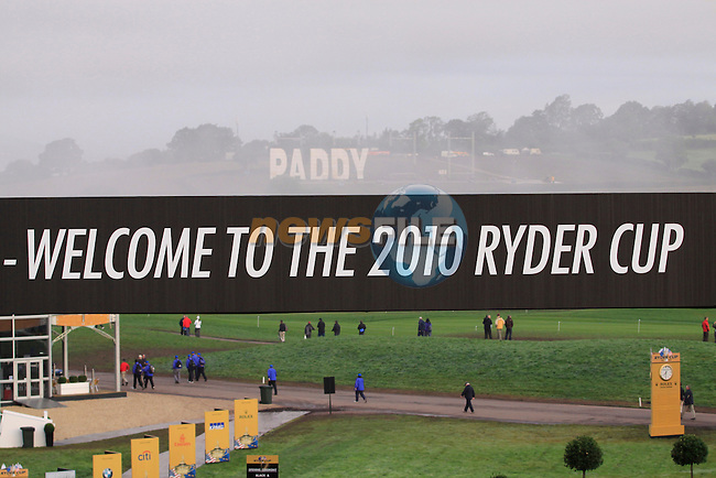 Paddy Power sign being erected beside The 2010 Ryder Cup siteat the Celtic Manor, Newport, Wales, 29th September 2010..Picture Manus O'Reilly/www.golffile.ie