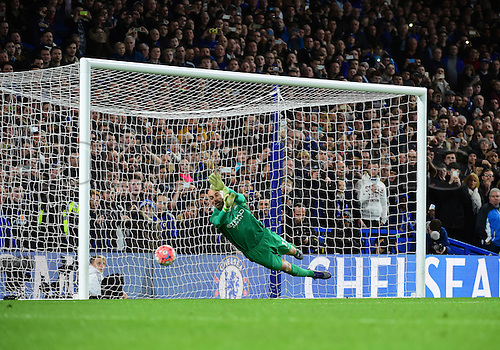 21.02.2016. Stamford Bridge, London, England. Emirates FA Cup 5th Round. Chelsea versus Manchester City. Manchester City's Willy Caballero saves Oscars penalty