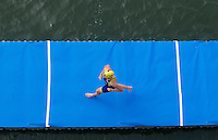 01 SEP 2013 - SARTROUVILLE, FRA - Jessica Harrison, racing for Poissy Triathlon, runs along the pontoon before the start of the women's Grand Prix de Triathlon de Sartrouville in Sartrouville, France  (PHOTO COPYRIGHT © 2013 NIGEL FARROW, ALL RIGHTS RESERVED)