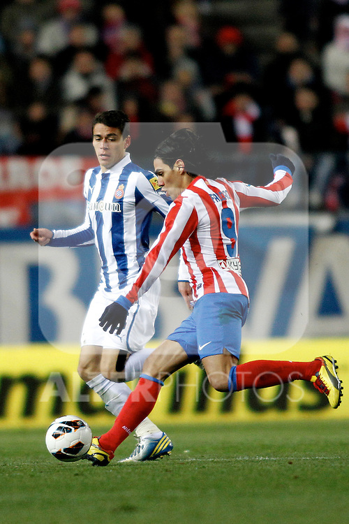 Atletico de Madrid's Radamel Falcao and Espanyol's V.Sanchez during La Liga  match. February 24,2013.(ALTERPHOTOS/Alconada)