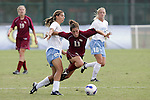 11 November 2007: Florida State's Amanda DaCosta (13) is fouled by North Carolina's Tobin Heath (98). The University of North Carolina defeated Florida State University 1-0 at the Disney Wide World of Sports complex in Orlando, FL in the Atlantic Coast Conference Women's Soccer tournament final.