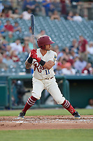 Frisco RoughRiders Christian Lopes (11) bats during a Texas League game against the Amarillo Sod Poodles on May 16, 2019 at Dr Pepper Ballpark in Frisco, Texas.  (Mike Augustin/Four Seam Images)