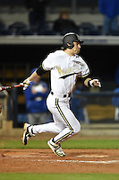 Vanderbilt Commodores  outfielder Rhett Wiseman (8) game winning base hit in the bottom of the ninth inning during a game against the Indiana State Sycamores on February 20, 2015 at Charlotte Sports Park in Port Charlotte, Florida.  Vanderbilt defeated Indiana State 3-2.  (Mike Janes/Four Seam Images)