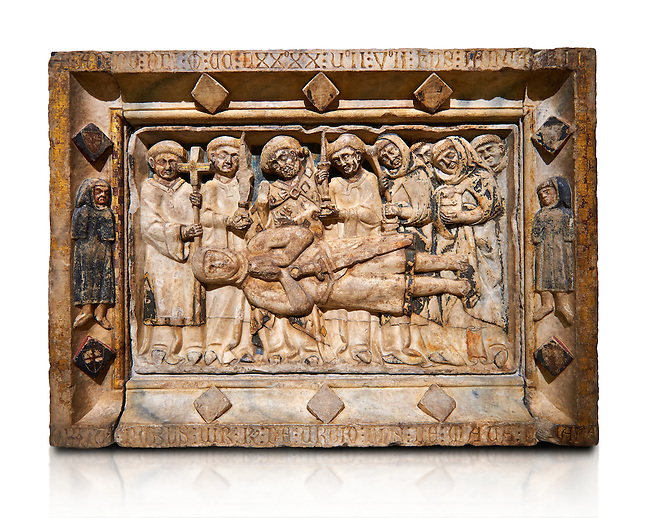 Gothic marble relief sculpture from the tomb of Ramon d'Urtx, died 1290, from the convent of Sant Domenee de Puigcerda, Cerdanya, Spain..  National Museum of Catalan Art, Barcelona, Spain, inv no: MNAC  64011. Against a white background.