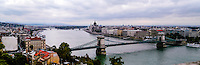 Budapest, Hungary.  View of Danube and the Chain Bridge from Castle Hill. Parliament Building in the background.