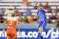 Houston, TX - Wednesday June 28, 2017: Julie King heads the ball away from her goal during a regular season National Women's Soccer League (NWSL) match between the Houston Dash and the Boston Breakers at BBVA Compass Stadium.