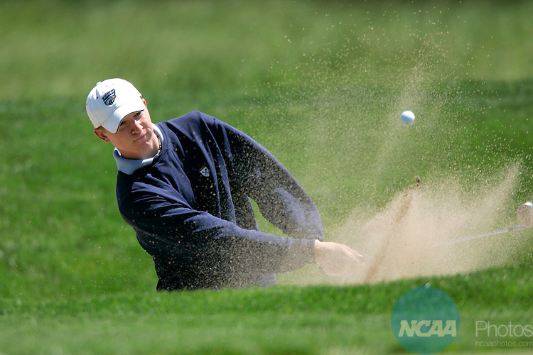 2006 MAY 11:  Drew Harker of Emory blasts out of a bunker during the 2006 Division III Men's Golf Championship held at Firethorn Golf Club in Lincoln, NE .  Harker finished tied for 36th in the chase for the individual title while helping his team to a 9th place finish.  Stephen Goodridge of the University of Rochester took home the individual title while Nebraska Wesleyan won the team title.  Trevor Brown, Jr./NCAA Photos