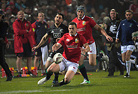 George North pounces on Nehe Milner-Skudder's grubber kick during the 2017 DHL Lions Series rugby union match between the NZ Maori and British & Irish Lions at Rotorua International Stadium in Rotorua, New Zealand on Saturday, 17 June 2017. Photo: Dave Lintott / lintottphoto.co.nz