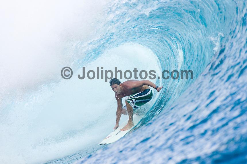 Three times world professional surfing champion ANDY IRONS (HAWAII)  surfing at TEAHUPOO, Tahiti . Photo: joliphotos