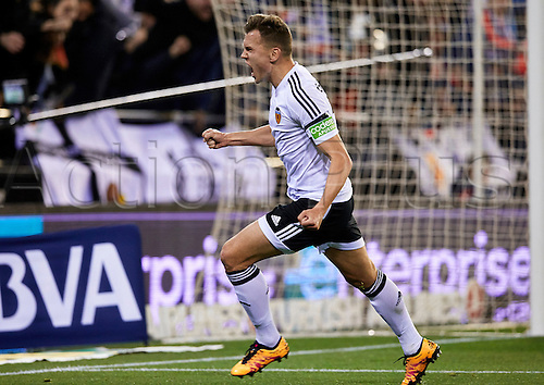 06.03.2016. Mestalla Stadium, Valencia, Spain. La Liga match between Valencia versus Atletico Madrid. Midfielder Denis Cheryshev of Valencia CF celebrates after scoring the first goal for his team