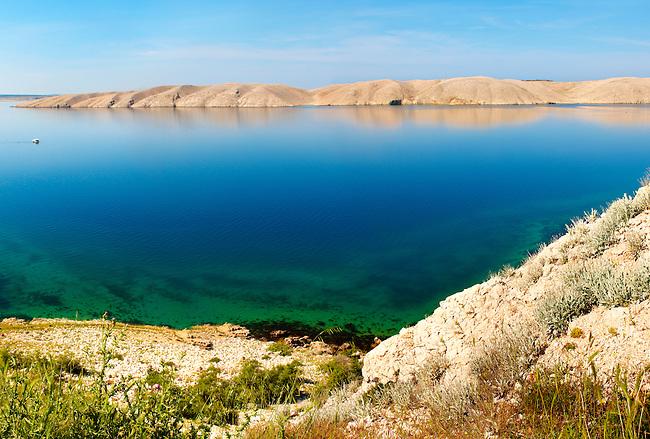 sea and treeless lanscape of Pag  island,  Croatia