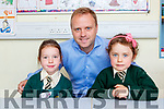 New Principal Brian O'Sullivan with Lily Pierce and Zoe Myles on their first day of school in Loreto NS on Monday