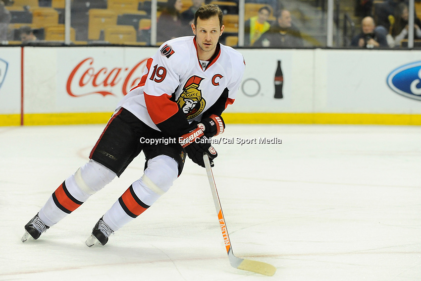 February 8, 2014 - Boston, Massachusetts, U.S. - Ottawa Senators center Jason Spezza (19) skates during the warm up period at the NHL game between the Ottawa Senators and the Boston Bruins held at TD Garden in Boston Massachusetts.   Eric Canha/CSM