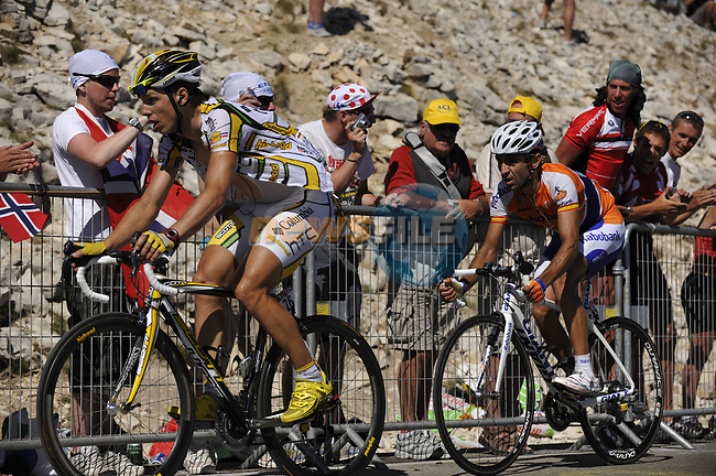 Tony Martin (GER) Team Columbia High Road leads Juan Manuel Garate (ESP) Rabobank close to the finish of Mont Ventoux during Stage19 of the Tour de France 2009 running 167km from Montelimar to Mont Ventoux, France. 25th July 2009 (Photo by Eoin Clarke/NEWSFILE)