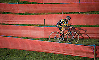 Ellen Van Loy (BEL/Telenet-Fidea) leading in the race's new course feature: The Labyrinth<br /> <br /> Elite Women's Race<br /> Soudal Jaarmarktcross Niel 2016