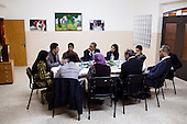 United States President Barack Obama participates in a youth roundtable at the Al-Bireh Youth Resource Development Center in Ramallah, the West Bank, March 21, 2013. .Mandatory Credit: Pete Souza - White House via CNP