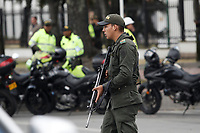 BOGOTA, COLOMBIA - January 17. Members of the Colombia Police Department stand guard near the scene where a car bomb exploded on January 17, 2019 in Bogota, Colombia. A car bomb exploded in front of the police academy killing at least nine people and wounding 41.  (Photo by Marcelo Villa/VIEWpress/)