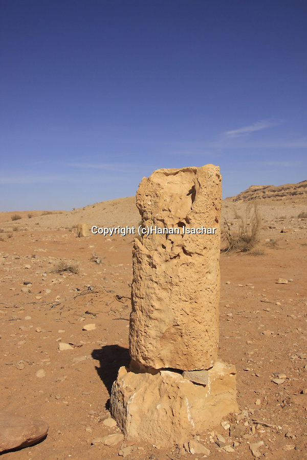 Israel, Negev desert, Nabatean milestone on the Spice Route in Ramon Crater