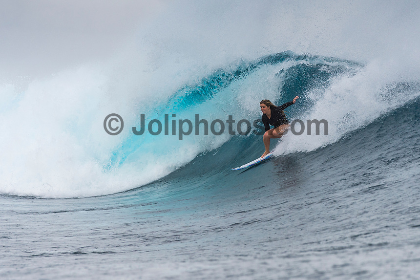Namotu Island Resort, Nadi, Fiji (Monday, May 22 2017): Caroline Marks (USA) - The wind  this morning was light from the South South East with high tide around 3.30pm.  The swell had jumped overnight and continued to build through the day. Cloudbreak had 10' plus faces and was barreling through the inside ,especially around the 9.30 low tide. A big group of pro surfers, both male and female, were surfing Cloudbreak in preparation for the OK Fiji Pro which begins on Saturday. Guests surfed Cloudbreak and Lefts.   The fishing crew returned with a catch of Ruby Snapper. Photo: joliphotos.com