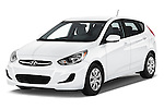 2016 Hyundai Accent SE 6-Speed Automatic 5 Door Hatchback Angular Front stock photos of front three quarter view