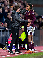 26th January 2020, Tynecastle Park, Edinburgh, Scotland; Scottish Premier League football, Hearts of Midlothian versus Rangers;  praise from Daniel Stendel manager of Hearts to Toby Sibbick of Hearts after his debut