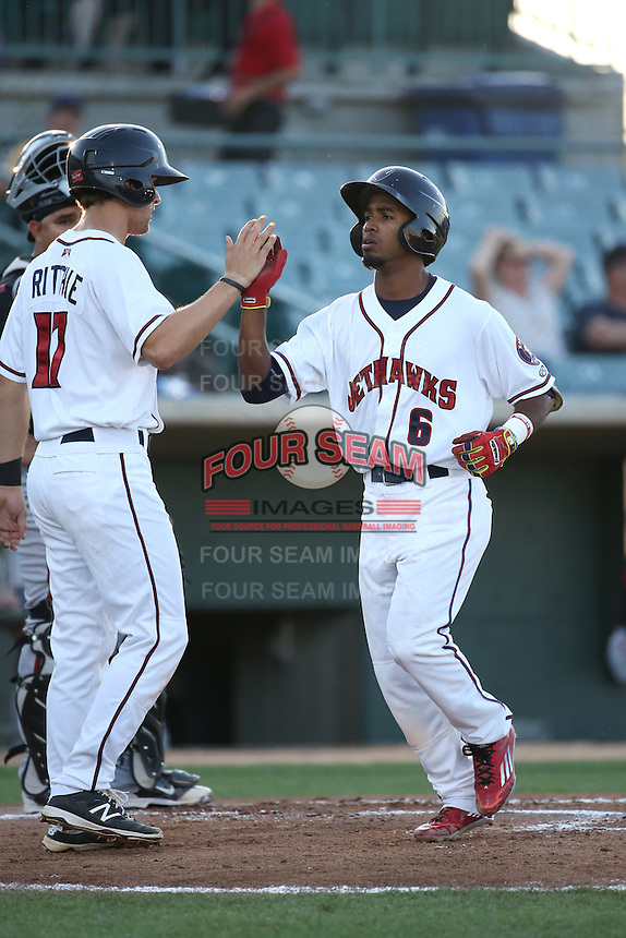 Osvaldo Duarte (6) of the Lancaster JetHawks is greeted by teammate Jamie Ritchie (17) after hitting a home run during a game against the Lake Elsinore Storm at The Hanger on August 2, 2016 in Lancaster, California. Lake Elsinore defeated Lancaster, 10-9. (Larry Goren/Four Seam Images)