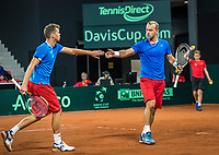 The Hague, The Netherlands, September 16, 2017,  Sportcampus , Davis Cup Netherlands - Chech Republic, Doubles : Pavlasek/Jabavy <br /> Photo: Tennisimages/Henk Koster