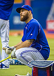 1 April 2016: Toronto Blue Jays catcher Russell Martin awaits his turn in the batting cage prior to a pre-season exhibition game against the Boston Red Sox at Olympic Stadium in Montreal, Quebec, Canada. The Red Sox defeated the Blue Jays 4-2 in the first of two MLB weekend exhibition games, which saw an attendance of 52,682 at the former home on the Montreal Expos. Mandatory Credit: Ed Wolfstein Photo *** RAW (NEF) Image File Available ***