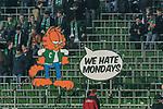 12.03.2018, Weserstadion, Bremen, GER, 1.FBL, SV Werder Bremen vs 1. FC Koeln<br /> <br /> im Bild<br /> Fans von Werder Bremen boykottieren Montagsspiele mit Fernbleiben, Ostkurve des Weserstadions mit L&uuml;cken / Luecken, Fanprotest, Fan-Boykott, Fans halten Banner / Spruchb&auml;nder in der Ostkurve in die H&ouml;he, <br /> <br /> Foto &copy; nordphoto / Ewert