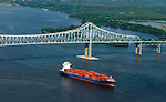 Aerial view of the Container Ship INDEPENDENT VOYAGER Sailing from Penn Terminals in Chester PA Along the Delaware River