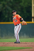 Baltimore Orioles Erick Salcedo (59) during a minor league Spring Training intrasquad game on April 2, 2016 at Buck O'Neil Complex in Sarasota, Florida.  (Mike Janes/Four Seam Images)
