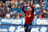 Kike Barja (forward; CA Osasuna) celebrate the goal during the Spanish football of La Liga 123, match between CA Osasuna and  RCD Mallorca at the Sadar stadium, in Pamplona (Navarra), Spain, on Sunday, January 20, 2019.
