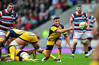 Jonny Arr of Worcester Warriors passes the ball. Aviva Premiership match, between Leicester Tigers and Worcester Warriors on October 8, 2016 at Welford Road in Leicester, England. Photo by: Patrick Khachfe / JMP