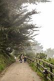 USA, California, Big Sur, Esalen, mother and daughter walk on a path at the Esalen Institute
