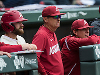NWA Democrat-Gazette/BEN GOFF @NWABENGOFF<br /> Trevor Ezell (from left), Arkansas first baseman, Dave Van Horn, Arkansas head coach, and Harrison Heffley, student assistant watch from the dugout in the 5th inning vs LSU Saturday, May 11, 2019, at Baum-Walker Stadium in Fayetteville.