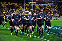 The All Blacks run in before the Steinlager Series international rugby match between the New Zealand All Blacks and France at Westpac Stadium in Wellington, New Zealand on Saturday, 16 June 2018. Photo: Dave Lintott / lintottphoto.co.nz