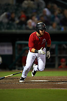 Inland Empire 66ers first baseman Jared Walsh (21) starts down the first base line during a California League game against the Lancaster JetHawks at San Manuel Stadium on May 18, 2018 in San Bernardino, California. Lancaster defeated Inland Empire 5-3. (Zachary Lucy/Four Seam Images)