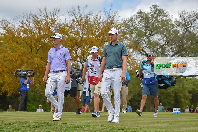Billy Horschel (USA) and Jordan Spieth (USA) make their way down 2 during day 1 of the Valero Texas Open, at the TPC San Antonio Oaks Course, San Antonio, Texas, USA. 4/4/2019.<br /> Picture: Golffile   Ken Murray<br /> <br /> <br /> All photo usage must carry mandatory copyright credit (© Golffile   Ken Murray)