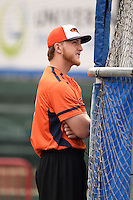 Bowing Green Hot Rods Joe McCarthy (31) during practice before a game against the Burlington Bees on May 7, 2016 at Community Field in Burlington, Iowa.  Bowling Green defeated Burlington 11-1.  (Mike Janes/Four Seam Images)