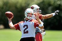Jun 9, 2008; Tempe, AZ, USA; Arizona Cardinals quarterback (2) Brian St. Pierre and Kurt Warner throw during mini camp at the Cardinals practice facility. Mandatory Credit: Mark J. Rebilas-