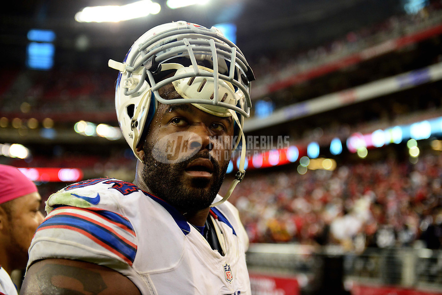 Oct. 14, 2012; Glendale, AZ, USA; Buffalo Bills defensive end (94) Mario Williams against the Arizona Cardinals at University of Phoenix Stadium. The Bills defeated the Cardinals 19-16 in overtime. Mandatory Credit: Mark J. Rebilas-